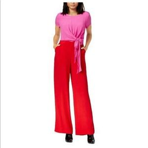 Maison Jules Red Colorblock Casual Jumpsuit new